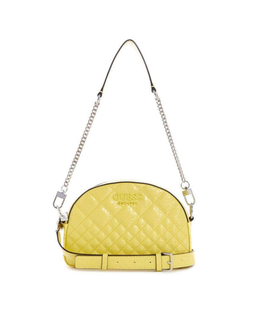 Image for Guess Women's Queenie Mini Crossbody Top Zip Cross Body Bag - Yellow