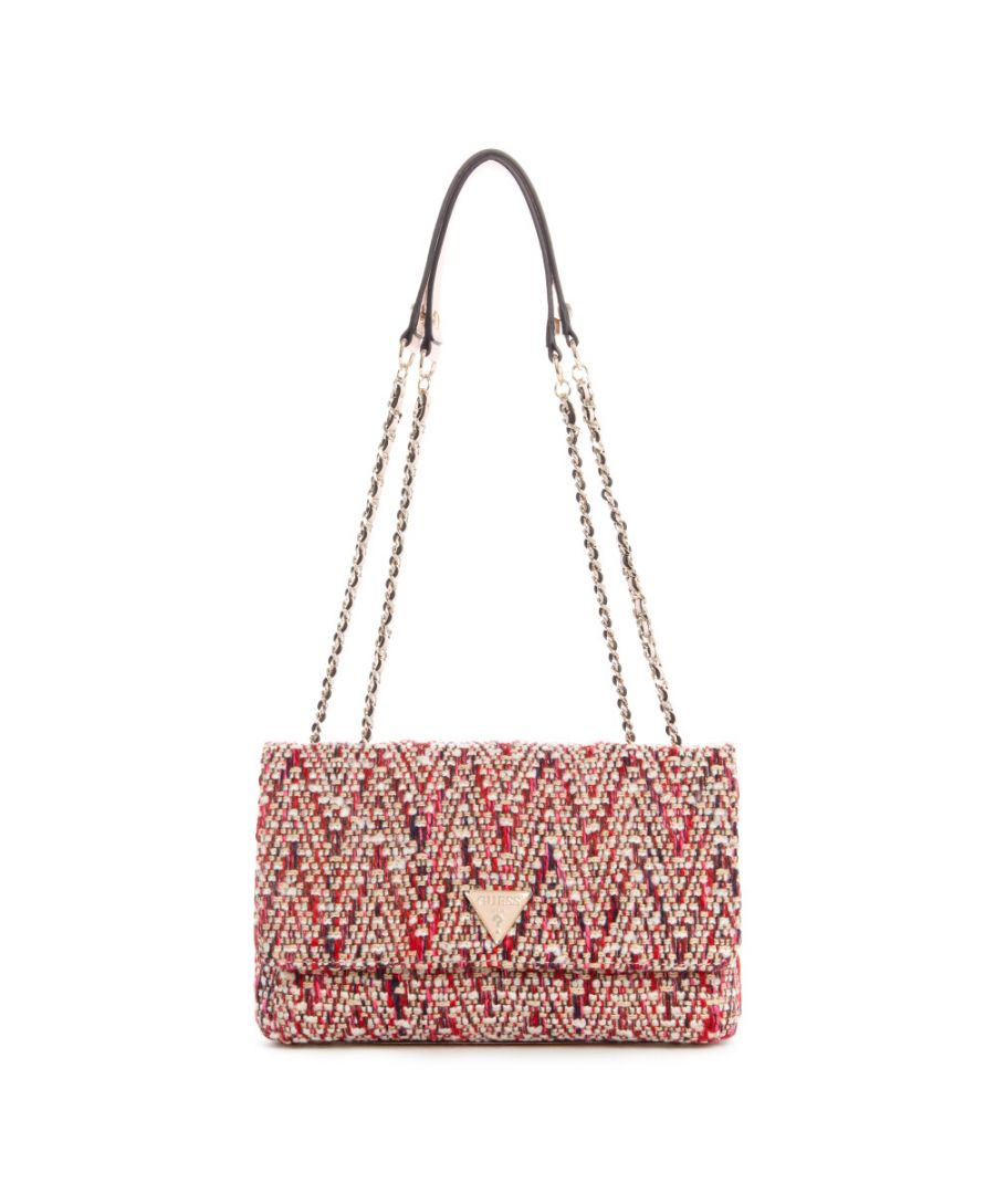Image for Guess Women's Cessily Convertible Crossbody Flap Cross Body Bag - Pink Multi