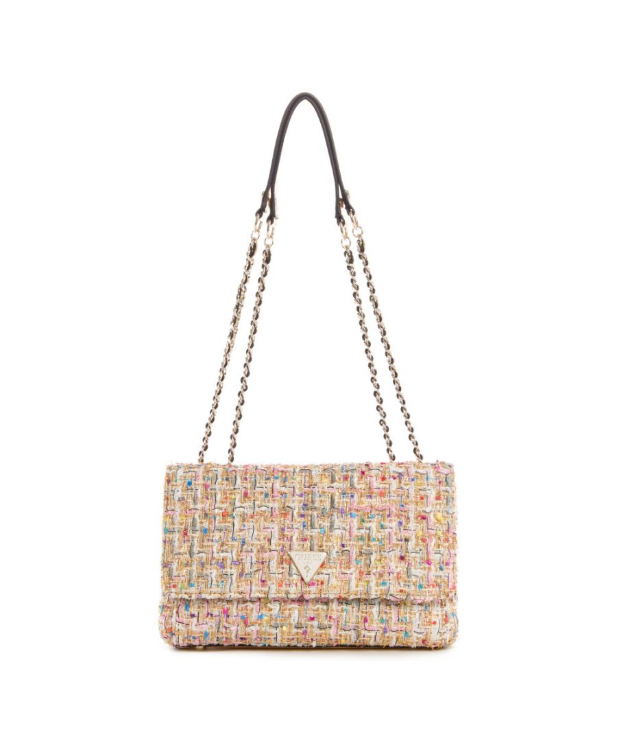 Image for Guess Women's Cessily Convertible Crossbody Flap Cross Body Bag - Gold Multi