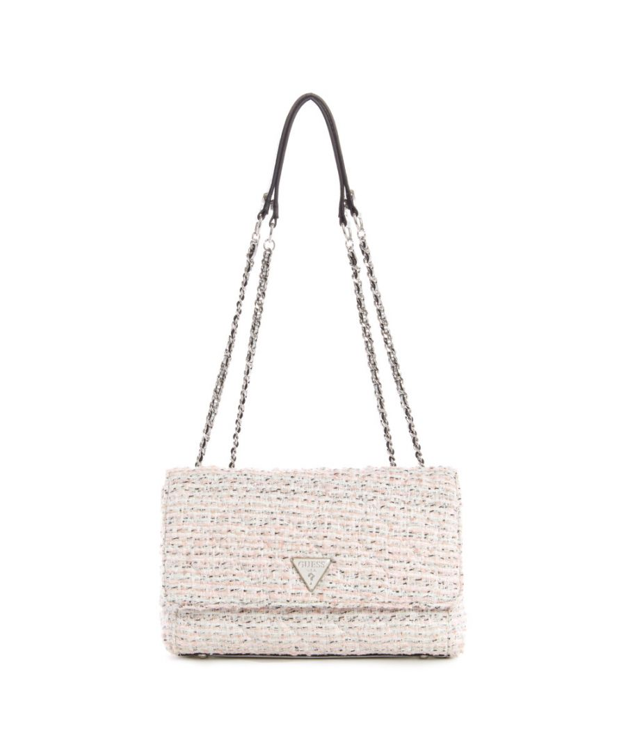 Image for Guess Women's Cessily Convertible Crossbody Flap Cross Body Bag - White Multi