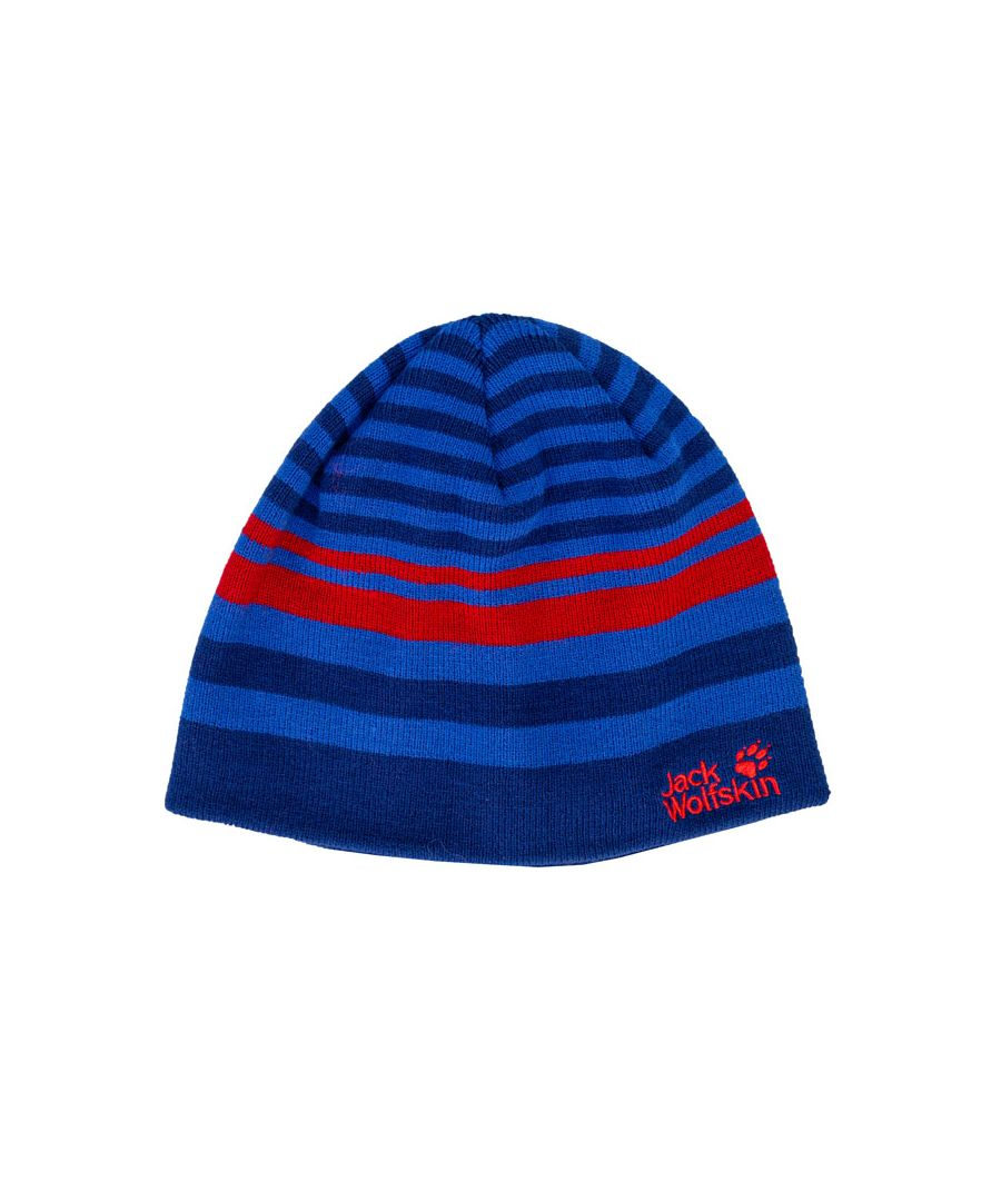Image for Accessories Jack Wolfskin Kids Cross Knit Hat in Royal Blue