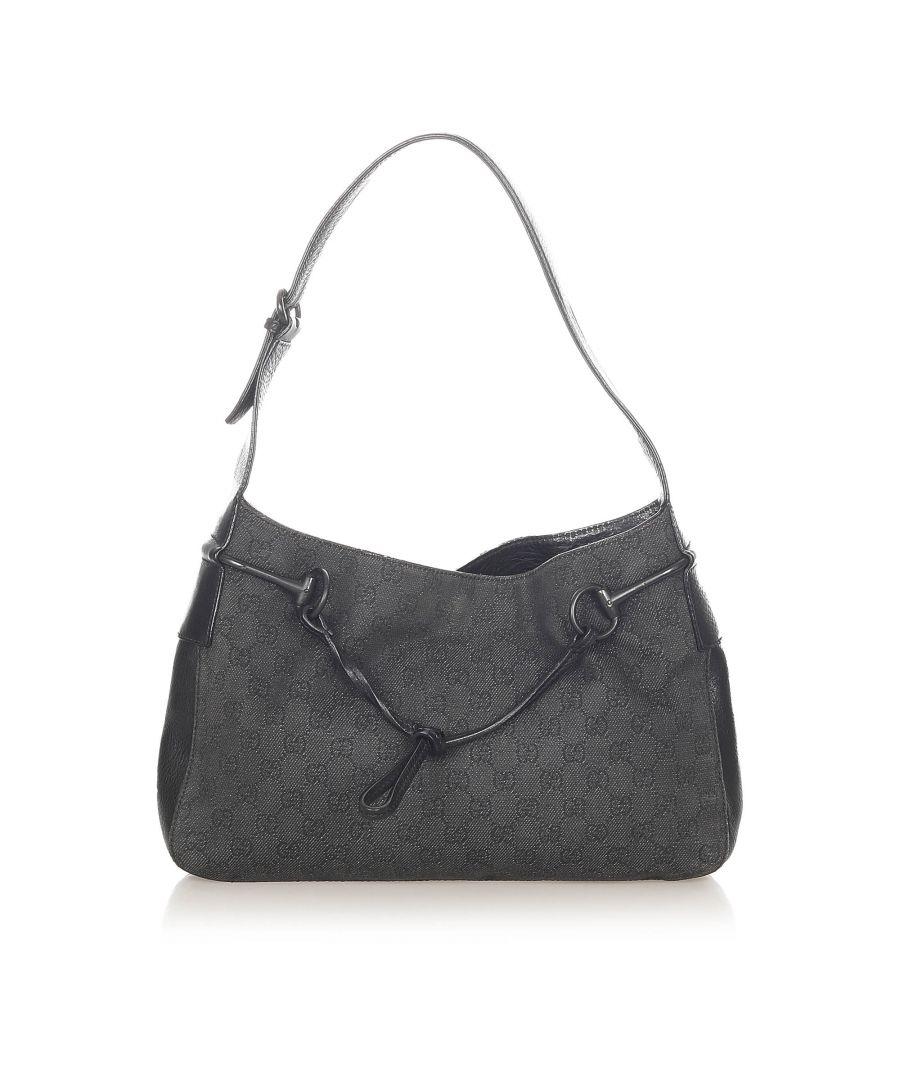 Image for Vintage Gucci GG Canvas Horsebit Shoulder Bag Black
