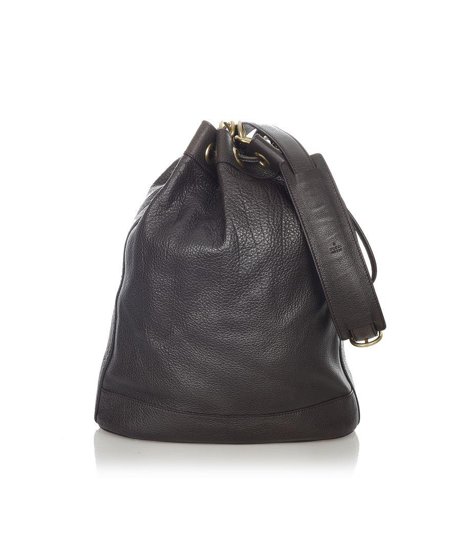 Image for Vintage Gucci Leather Bucket Bag Brown