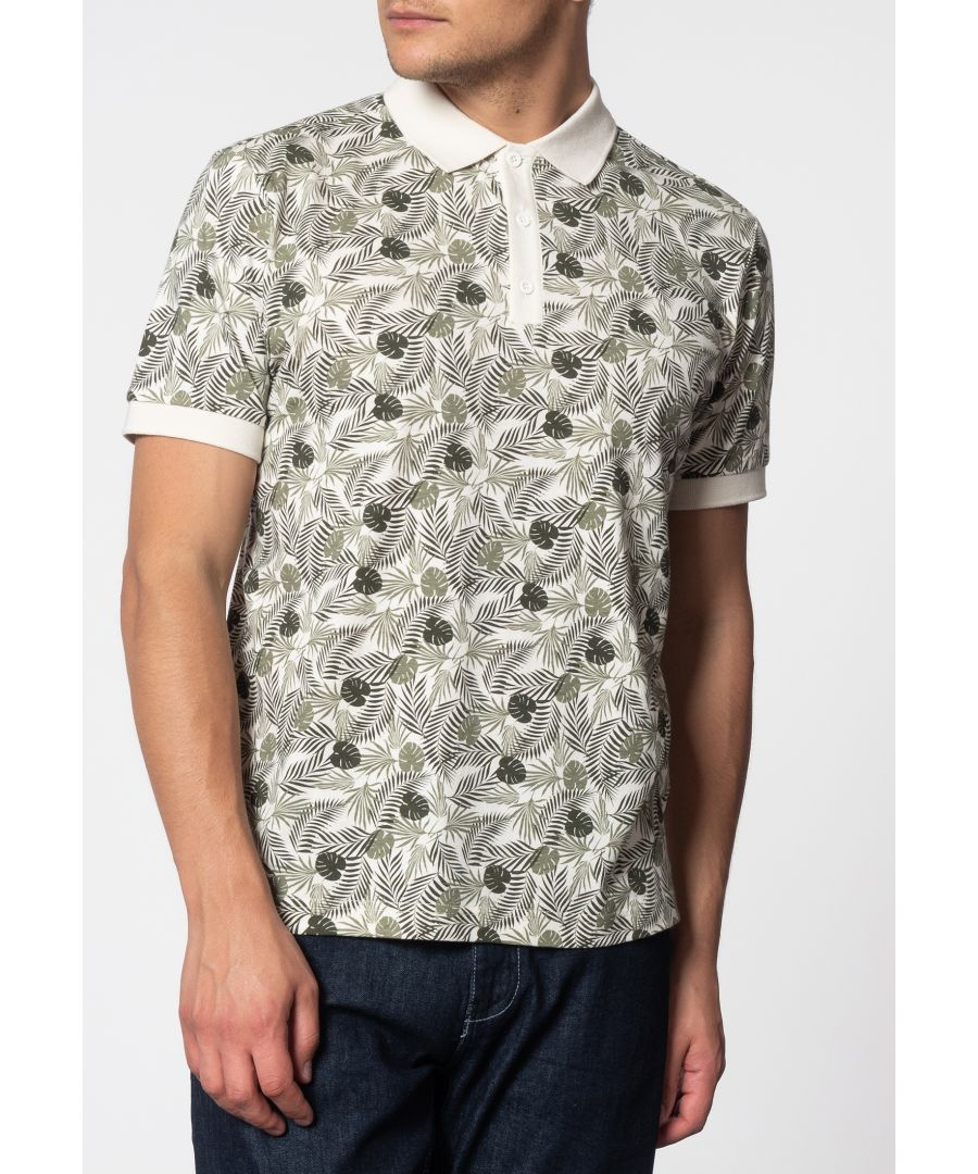 Image for Gaston Short Sleeve Palm Print Polo Shirt In Off White