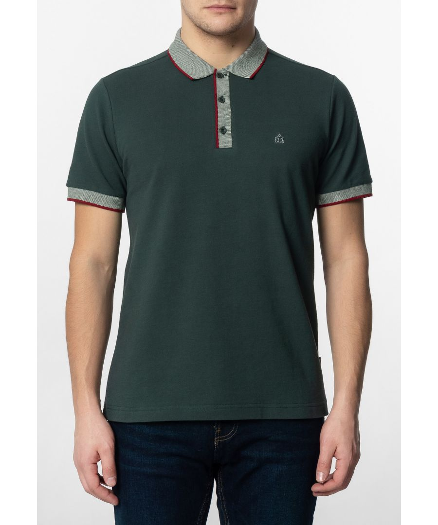 Image for Rupert Mens Plain Cotton Polo Shirt With Collar And Sleeve Contrast Details In Bottle Green