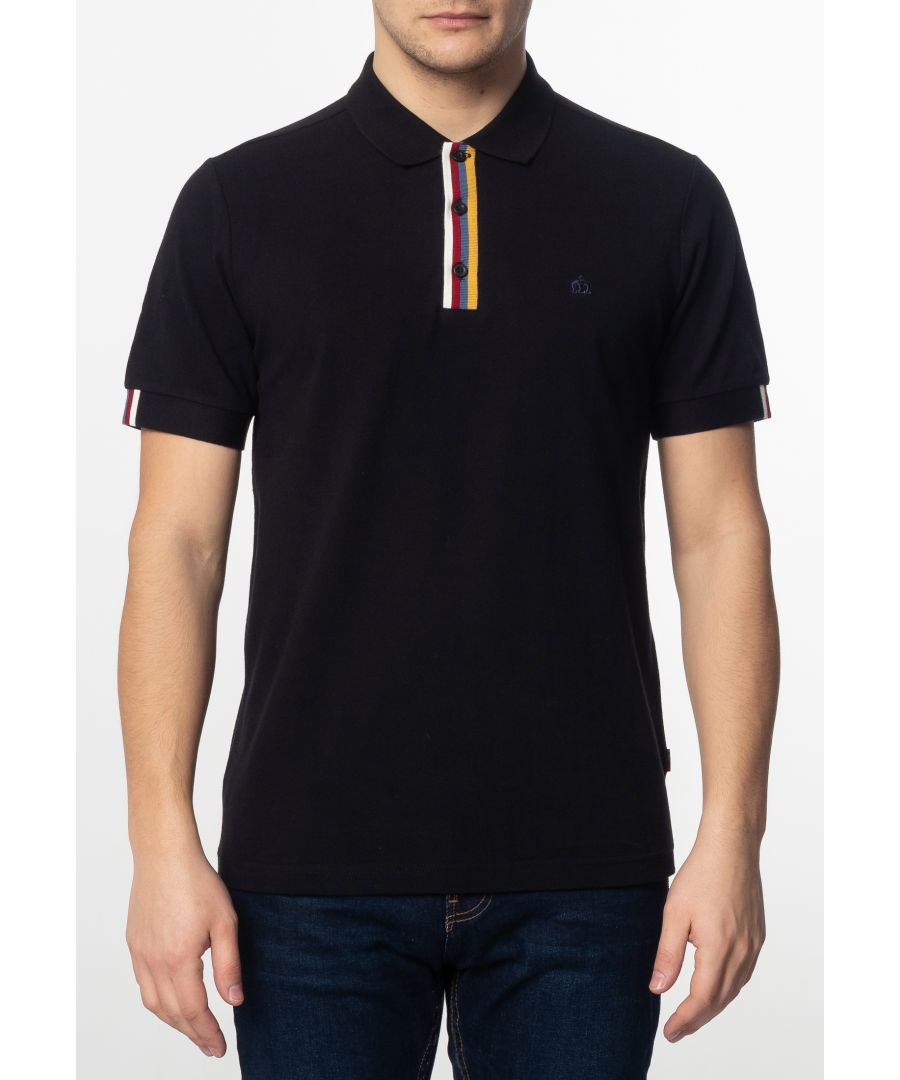 Image for Tulse Mens Plain Cotton Polo Shirt With Tipped Details In Black