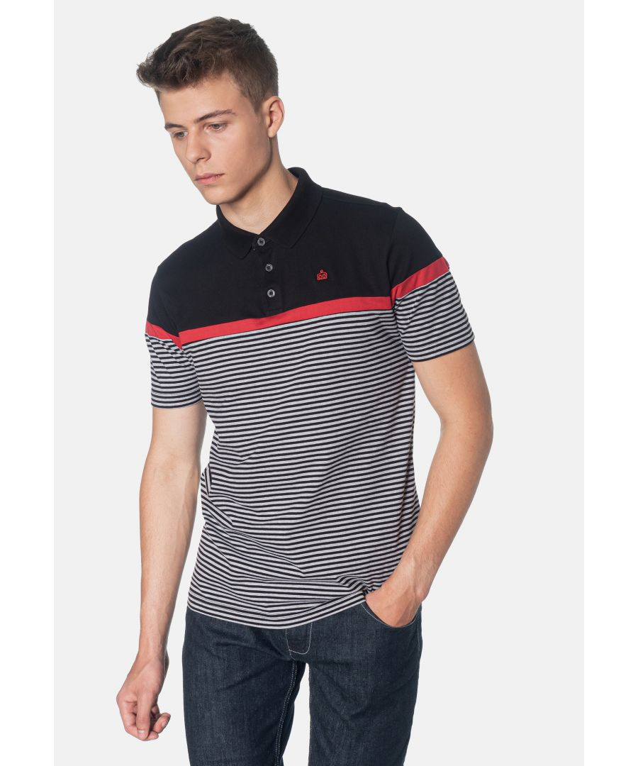 Image for Clarence Colour Block Stripes Men's Polo Shirt in Black