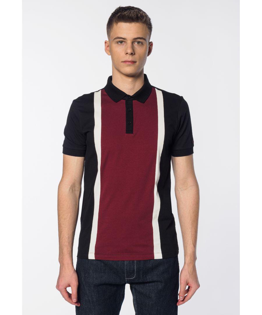 Image for Atlas Colour Block Stripes Men's Polo Shirt in Black