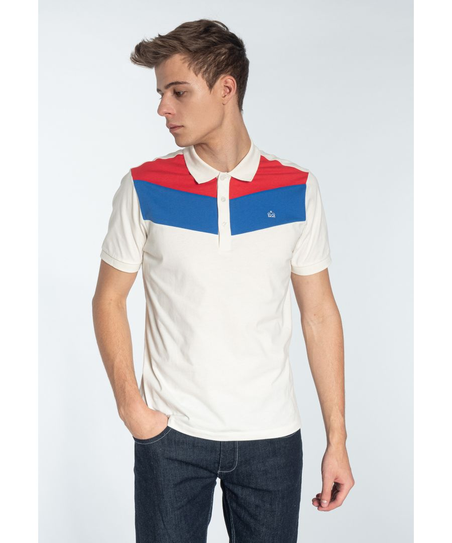 Image for Clyde Men's Cotton Colour Block Polo Shirt in Off White