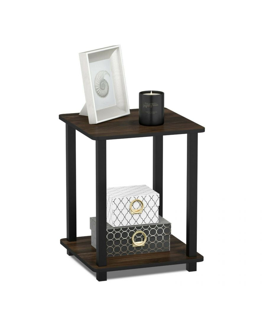 Image for Furinno Simplistic End Table, Set of Two - Columbia Walnut/Black