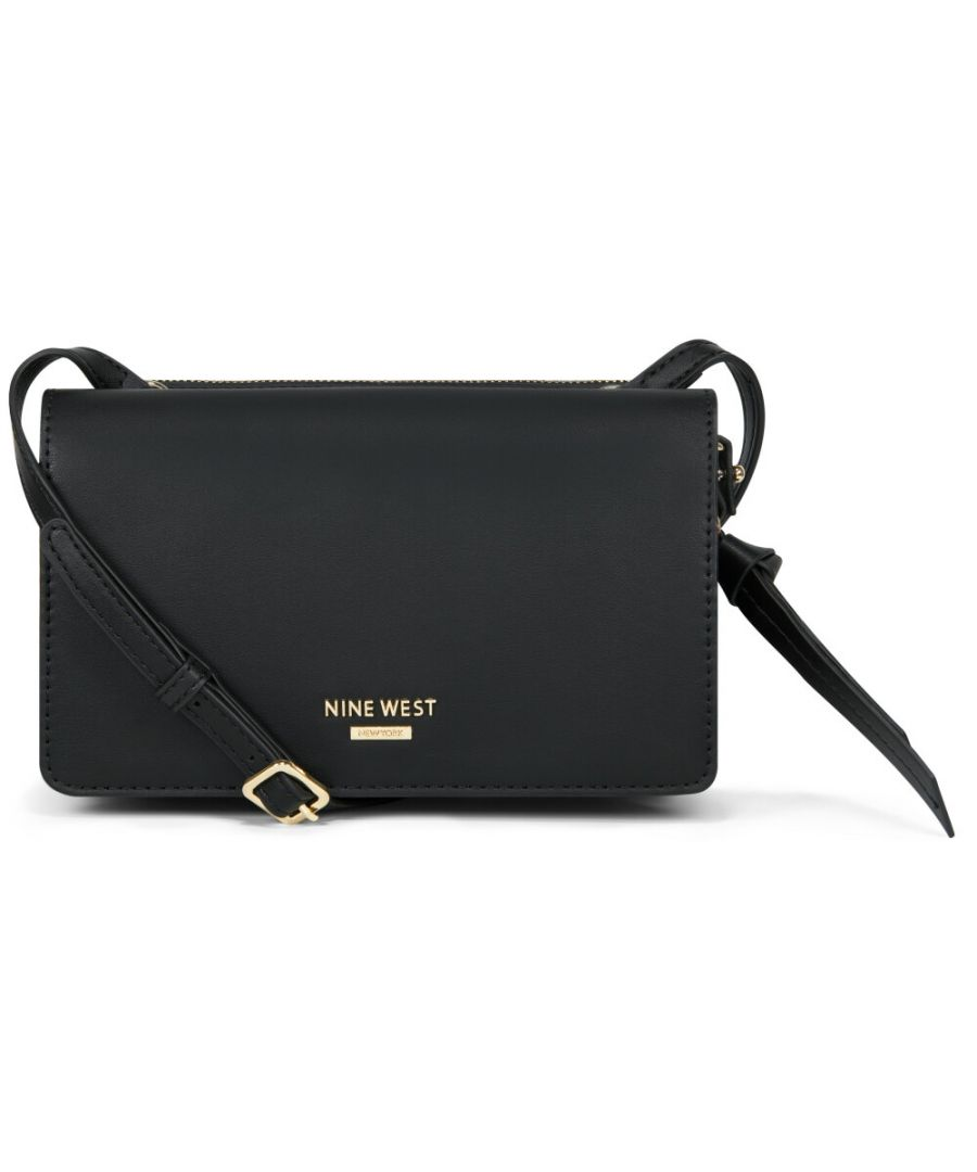 Image for Nine West Women's Knotted Up Crossbody Flap Organizer Cross Body Bag - Black