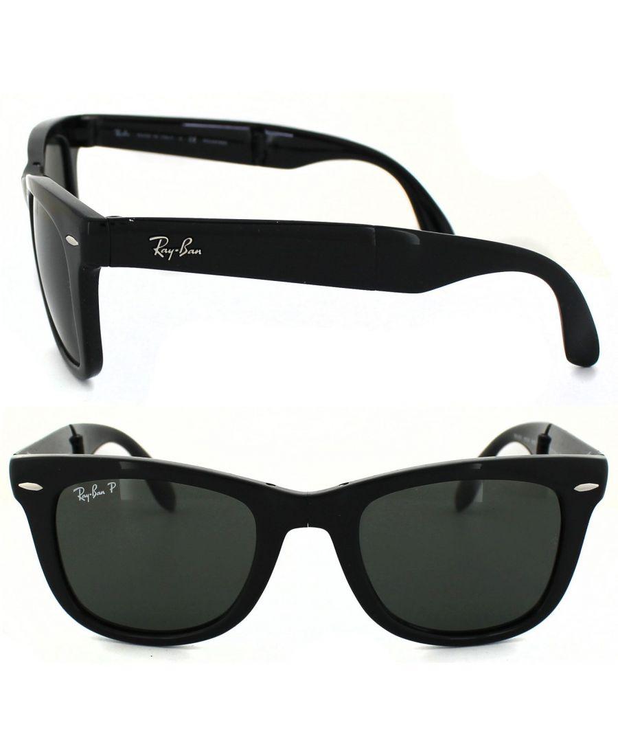 Image for Ray-Ban Sunglasses Folding Wayfarer 4105 Black Green Polarized 601/58 54mm