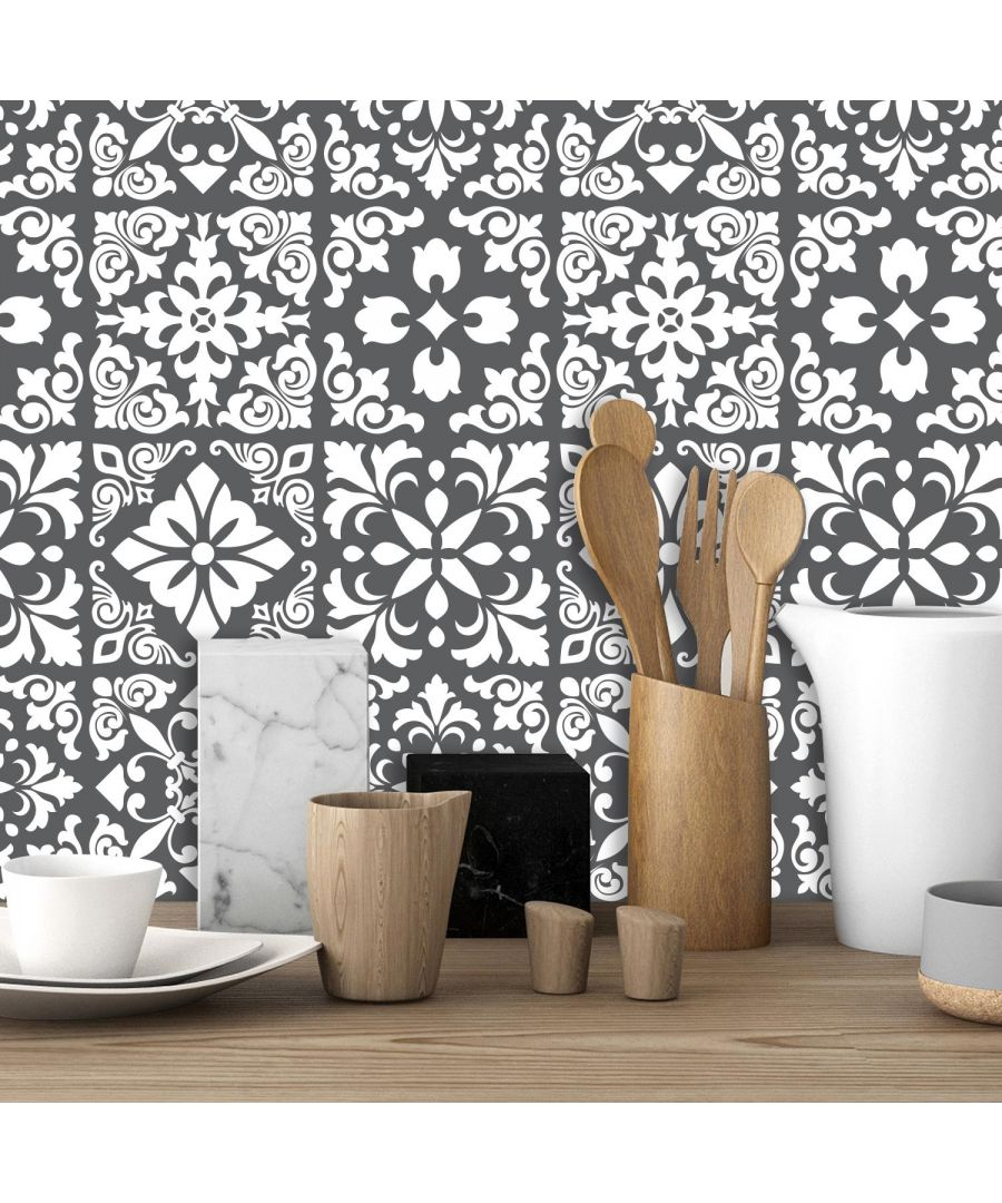 Image for Dark Grey Spanish Renaissance Tiles Wall Stickers - 15 x 15 cm (6 x 6 inches) - 24 pcs Tiles Wall Stickers, Kitchen, Bathroom, Living room