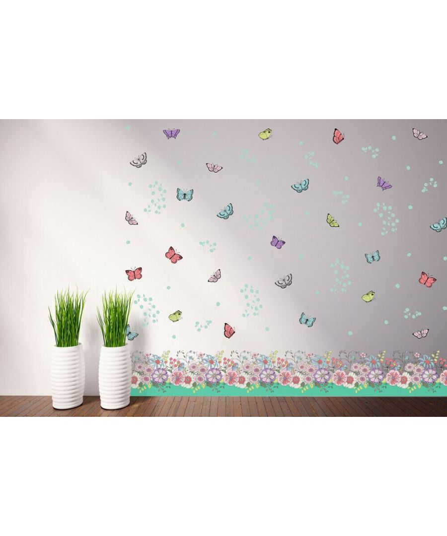Image for Flowers, Butterflies skirting, Peel and Stick, self-adhesive, Living Room Wall Sticker