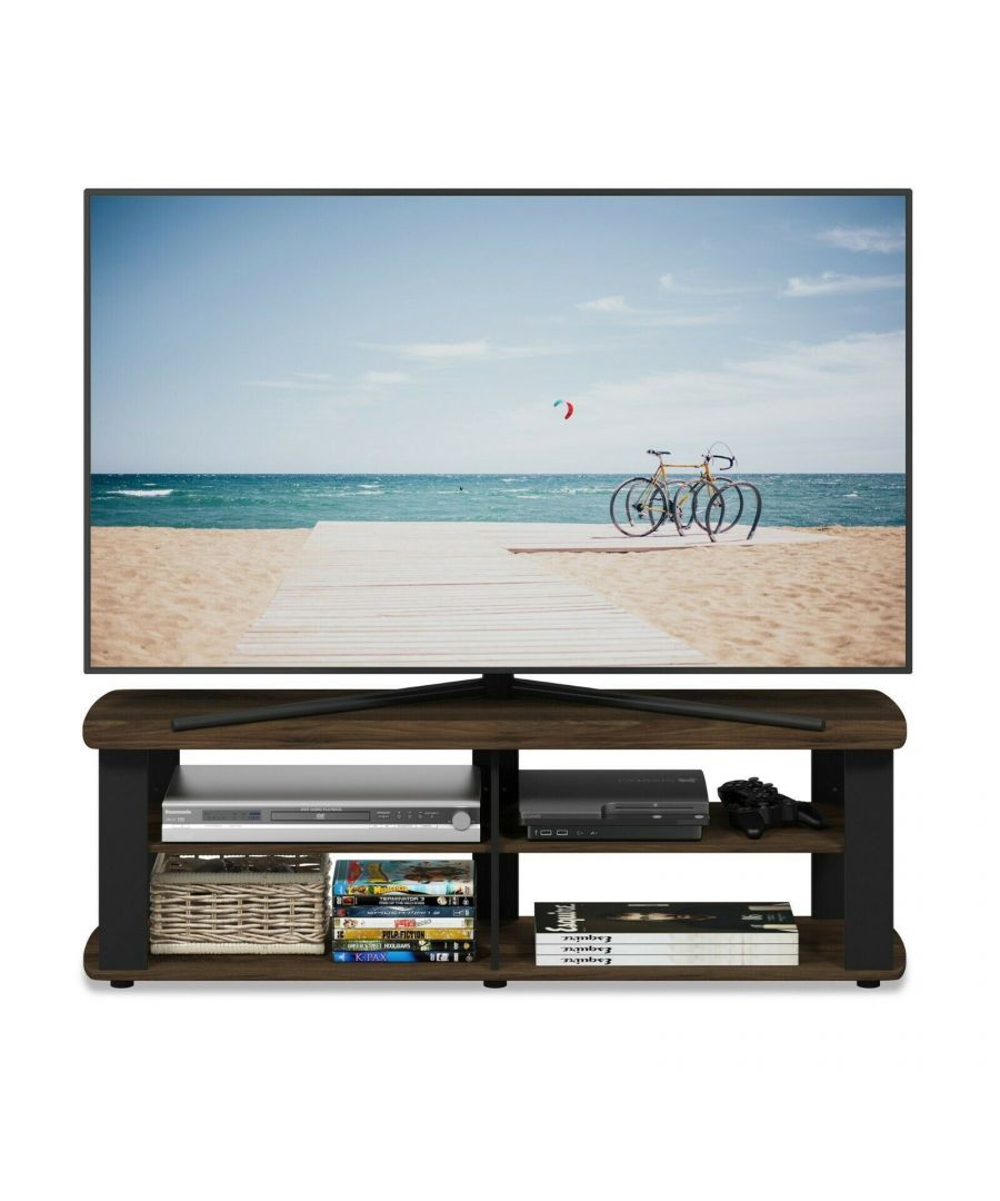 Image for Furinno Nelly Entertainment Center TV Stand, Columbia Walnut/Black