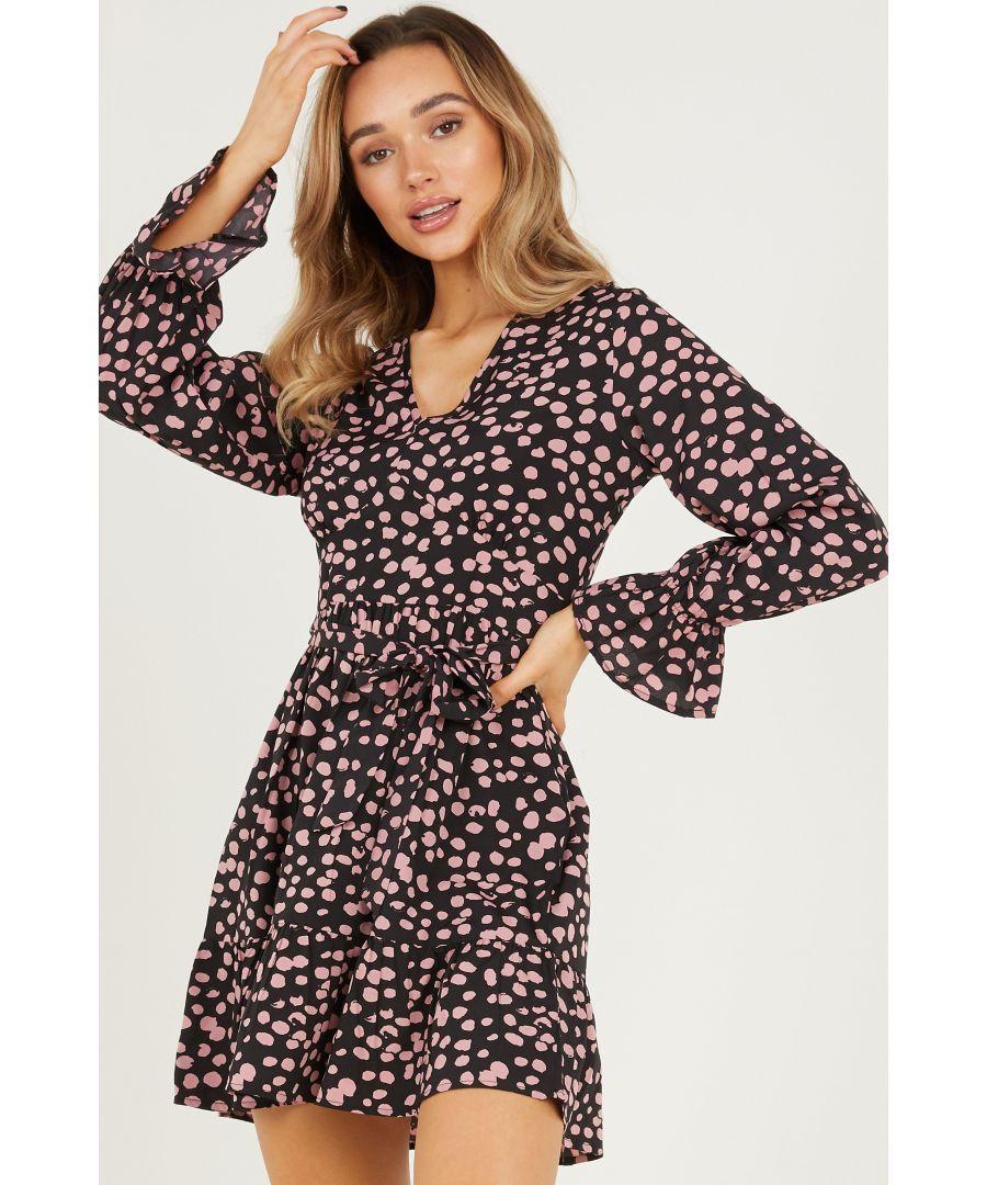 Image for Black Spot Print Skater Dress