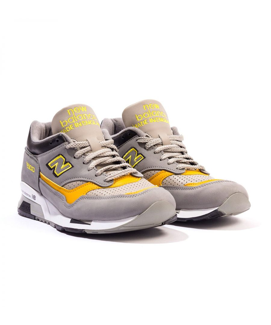 Image for New Balance 1500 Made In England Nubuck Trainers - Grey & Yellow