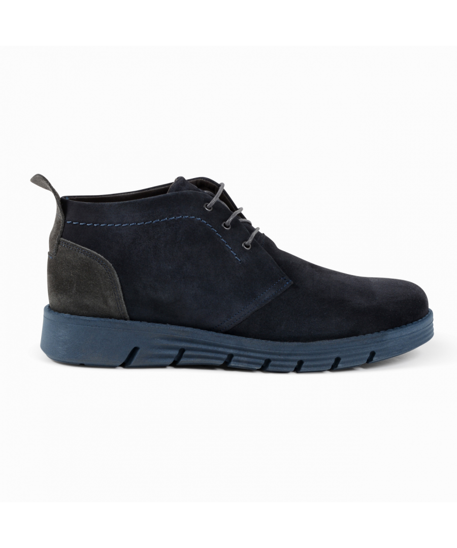 Image for 19V69 Italia Mens Ankle Boot Blue Grey 930 CAMOSCIO BLUE GRIGIO