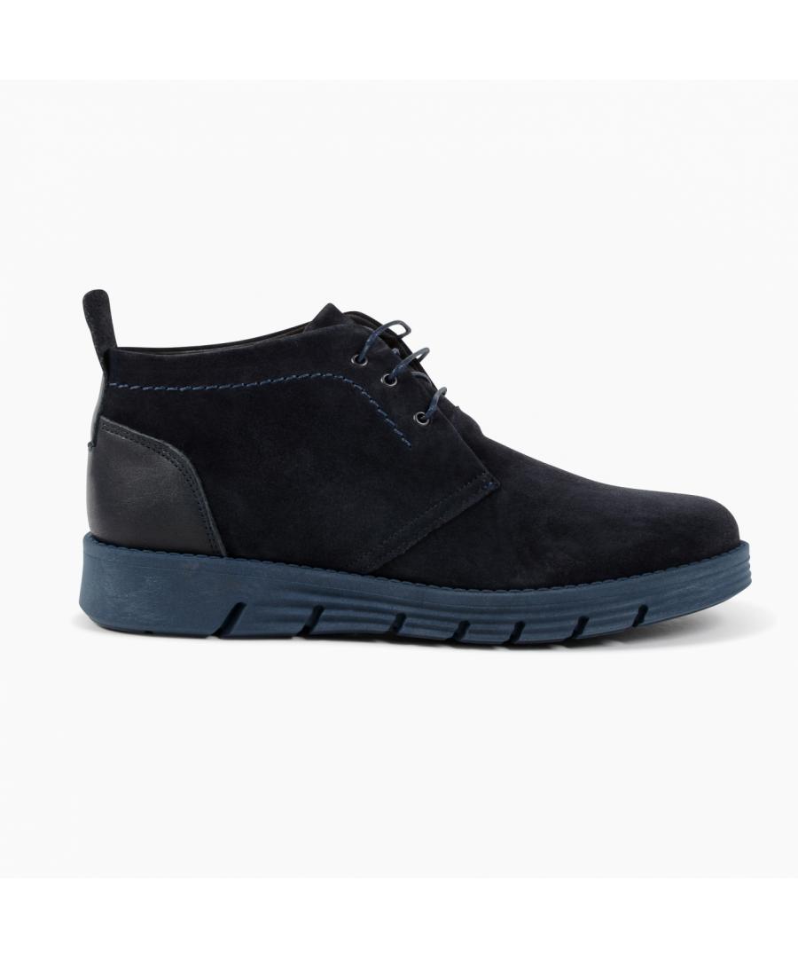Image for 19V69 Italia Mens Ankle Boot Blue 930 CAMOSCIO BLUE