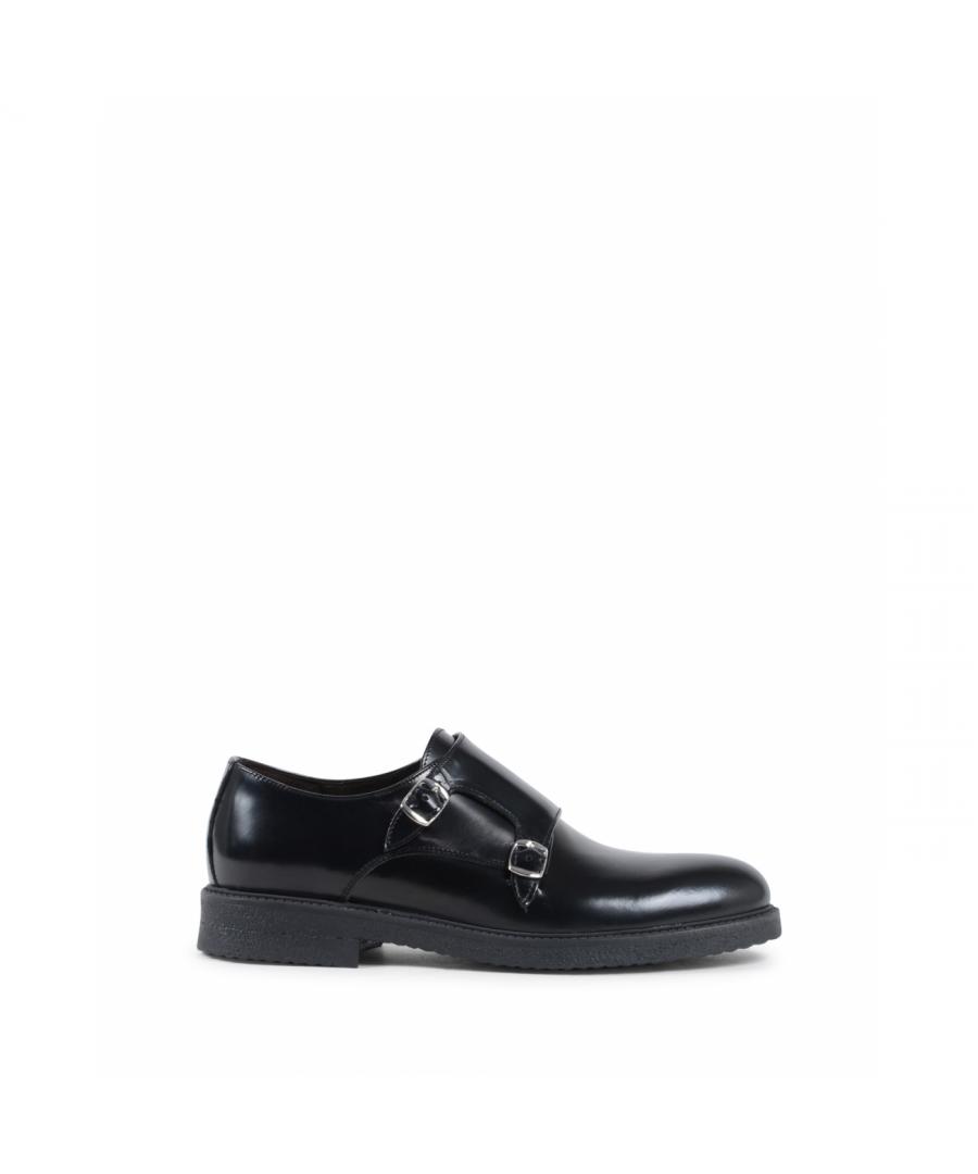 Image for 19V69 Italia Mens Double Buckle Shoe Black 1210 G ABRASIVATO NERO