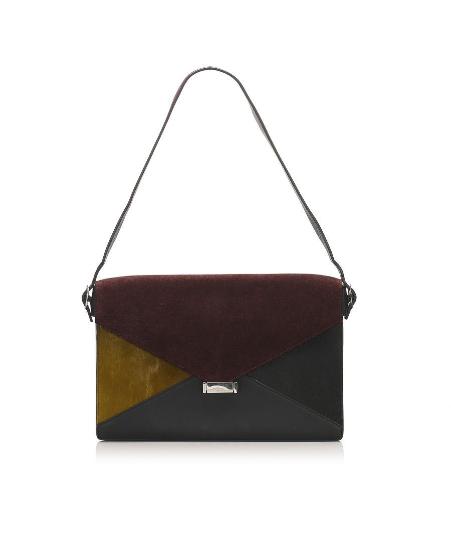 Image for Vintage Celine Diamond Leather Shoulder Bag Brown