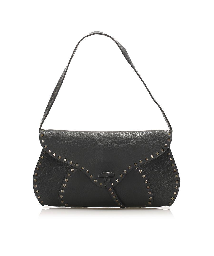 Image for Vintage Celine Studded Leather Baguette Black
