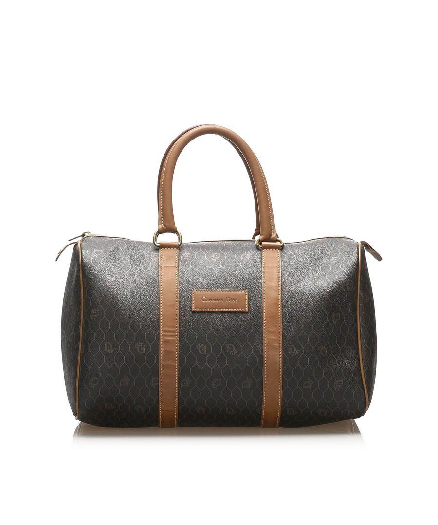 Image for Vintage Dior Honeycomb Boston Bag Brown