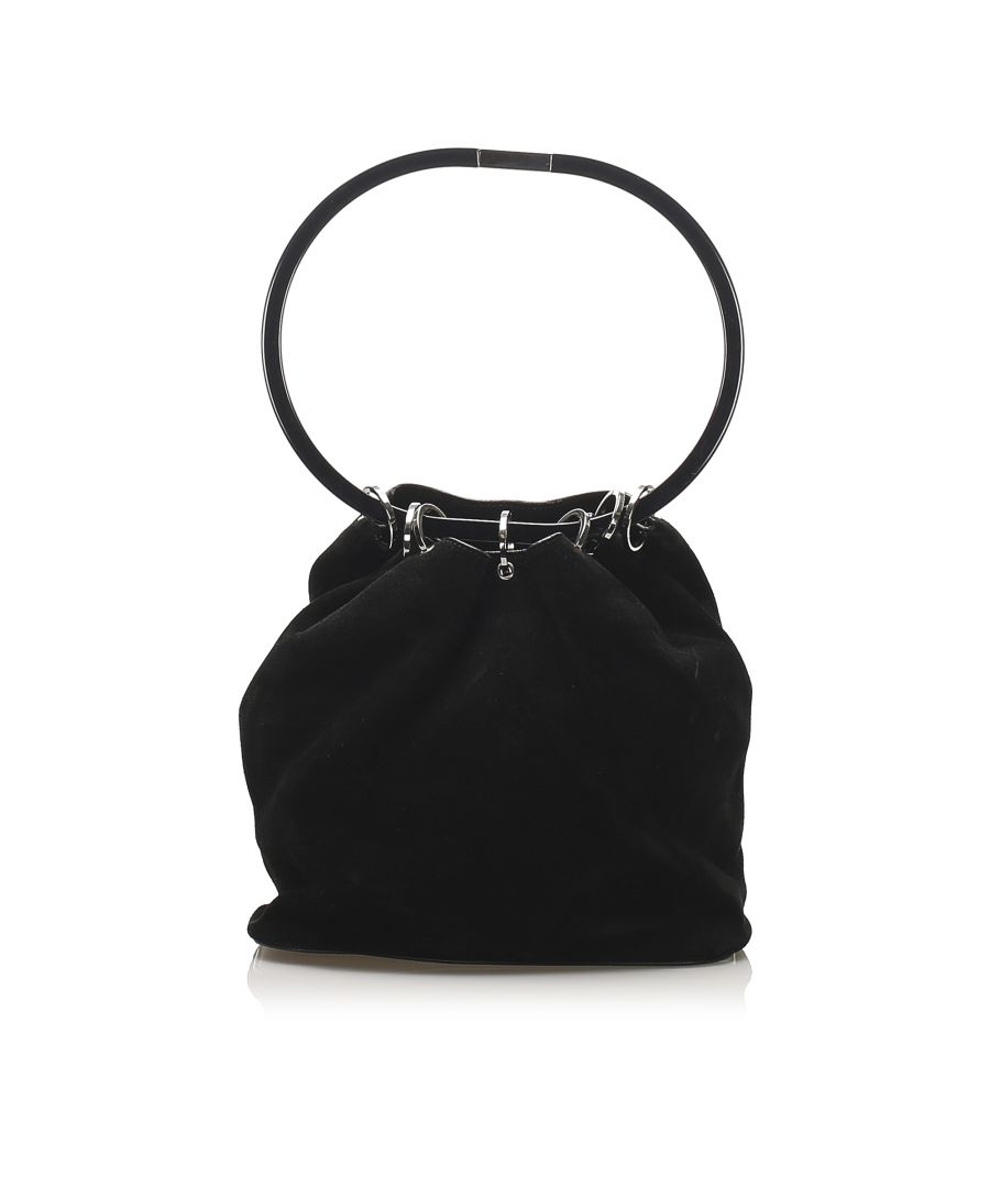 Image for Vintage Gucci Hoop Suede Bucket Bag Black