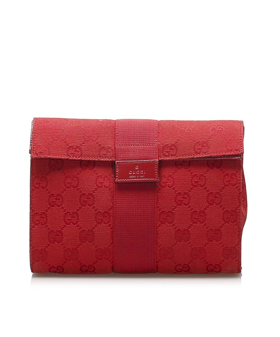 Image for Vintage Gucci GG Canvas Clutch Bag Red