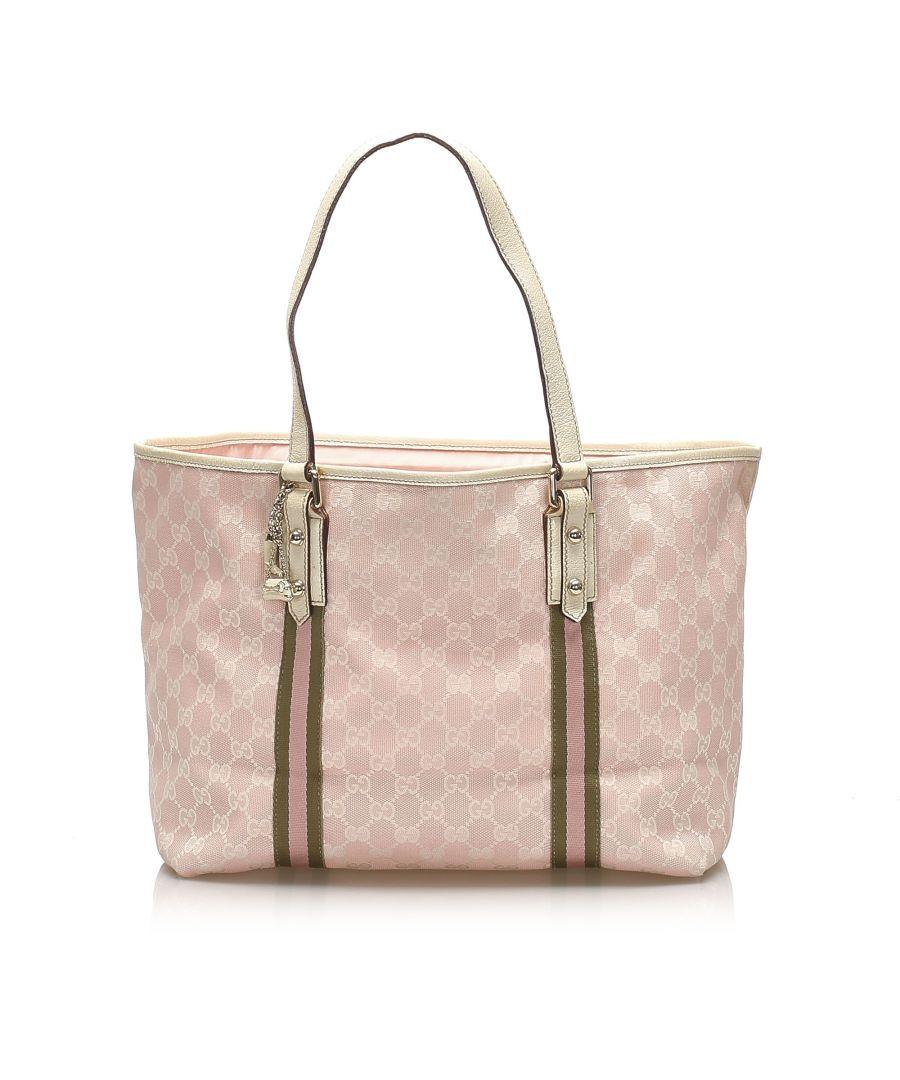 Image for Vintage Gucci GG Canvas Jolicoeur Tote Bag Pink