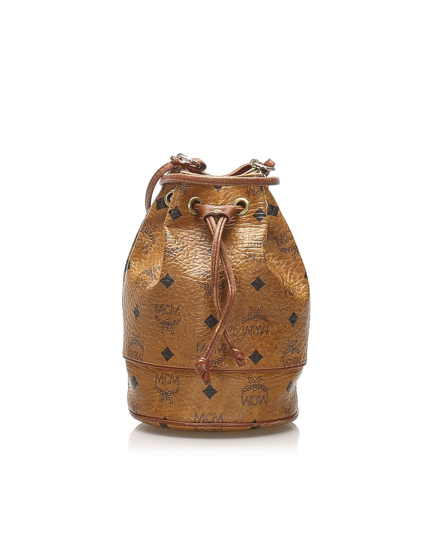 Image for Vintage MCM Visetos Leather Drawstring Bucket Bag Brown