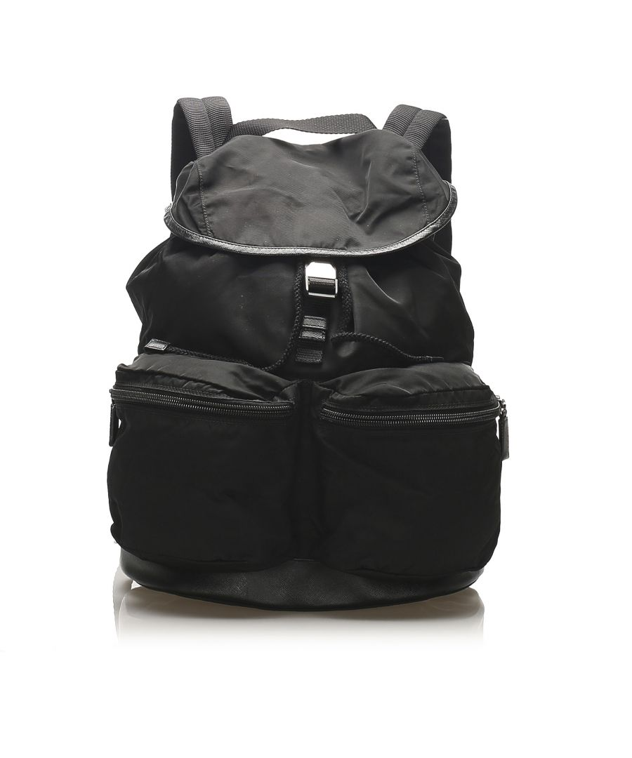 Image for Vintage Prada Tessuto Drawstring Backpack Black