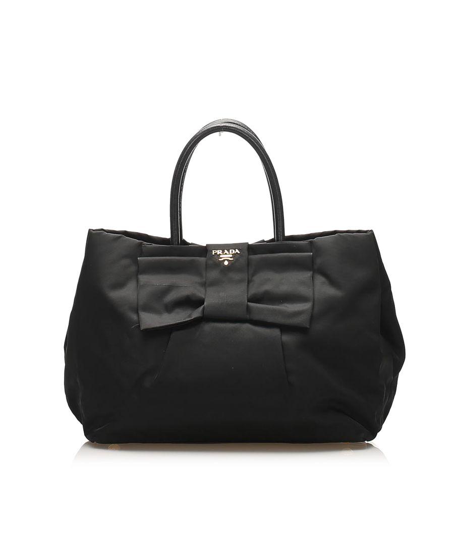 Image for Vintage Prada Fiocco Bow Tessuto Tote Bag Black