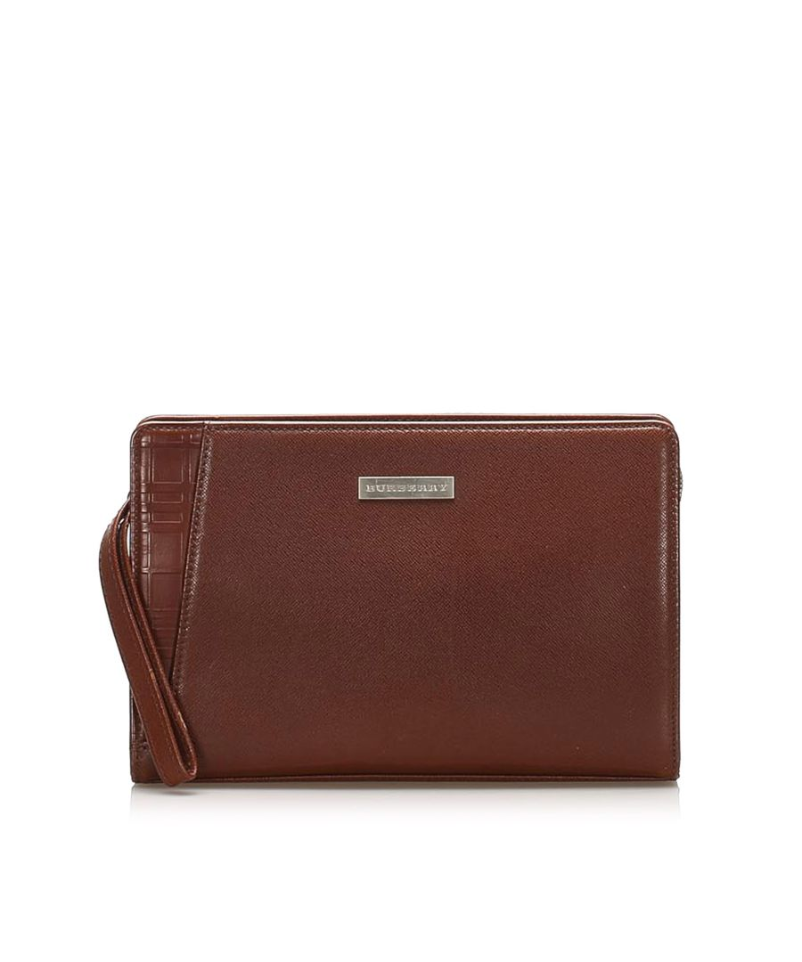 Image for Vintage Burberry Leather Pouch Brown