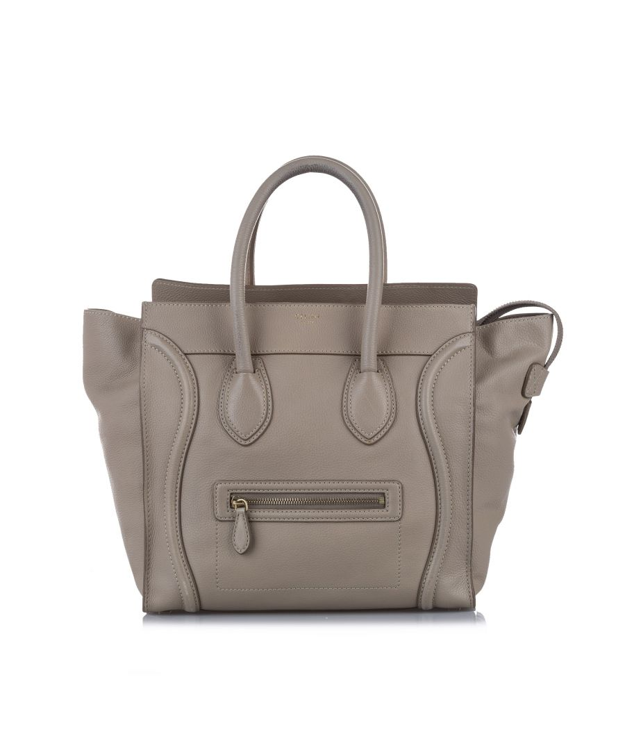 Image for Vintage Celine Luggage Leather Tote Bag White