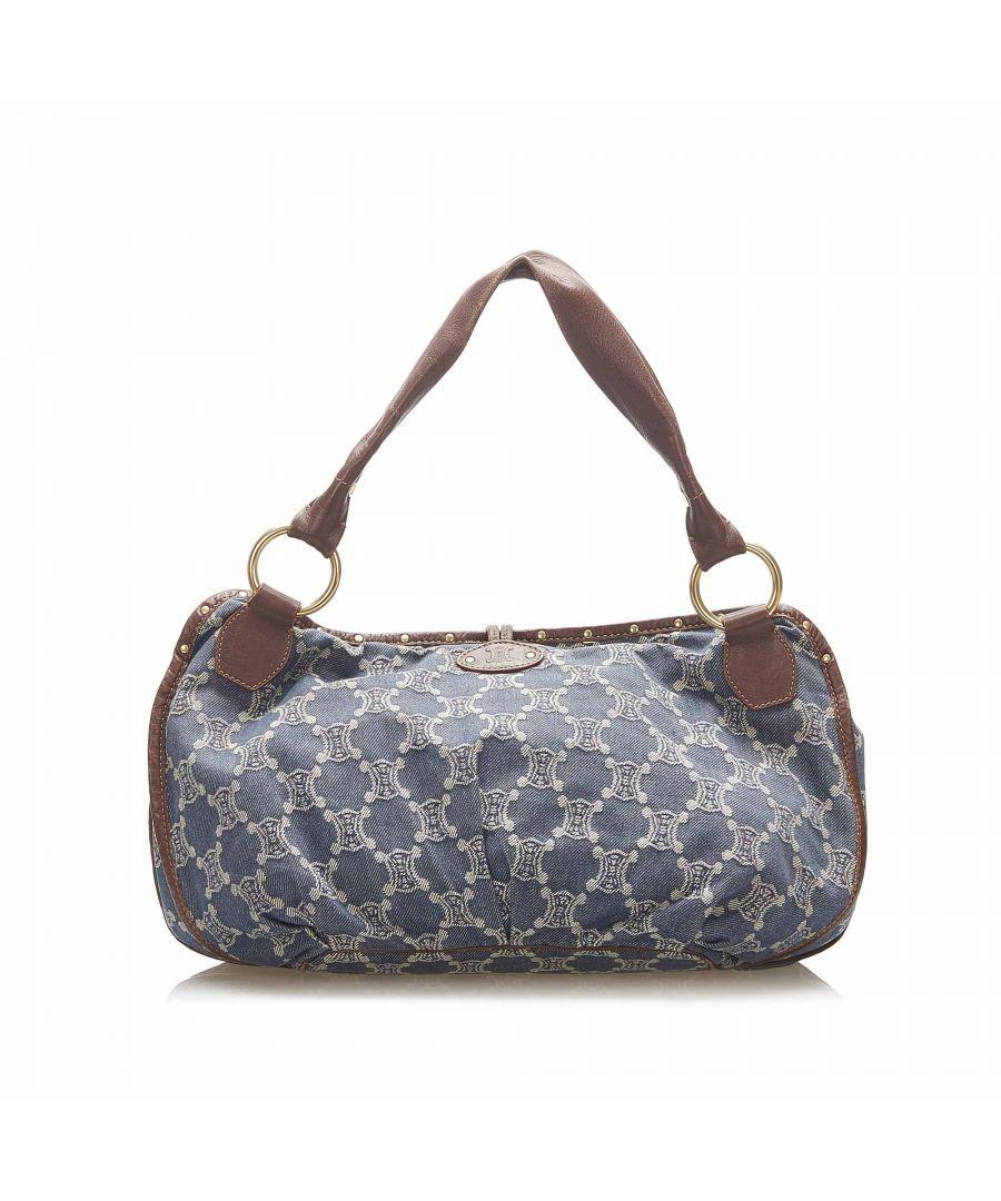 Image for Vintage Celine Macadam Bittersweet Denim Shoulder Bag Blue