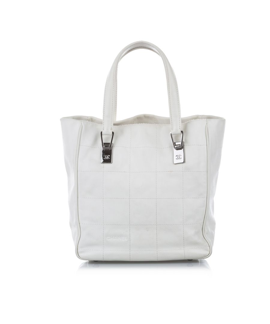 Image for Vintage Chanel Chocolate Bar Leather Tote Bag White