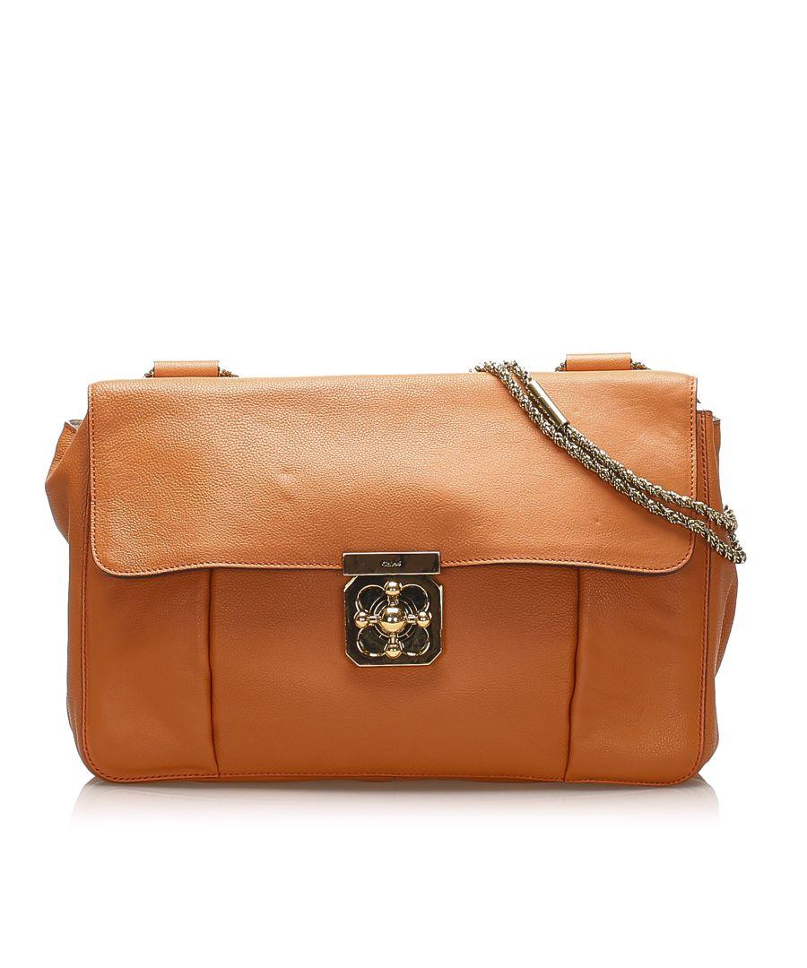 Image for Vintage Chloe Elsie Leather Shoulder Bag Orange