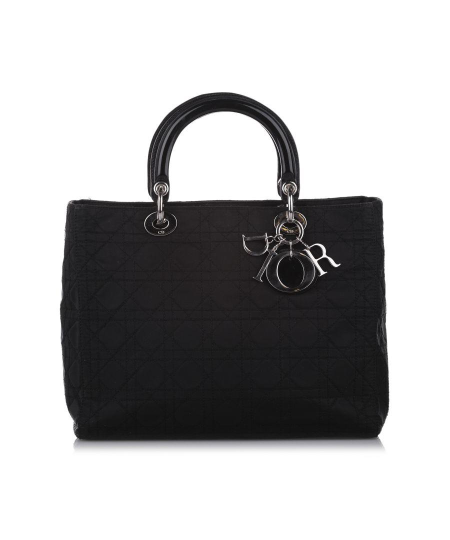 Image for Vintage Dior Cannage Lady Dior Nylon Handbag Black