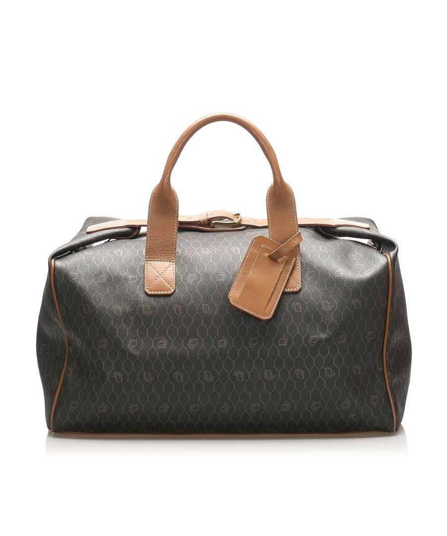 Image for Vintage Dior Honeycomb Leather Travel Bag Black