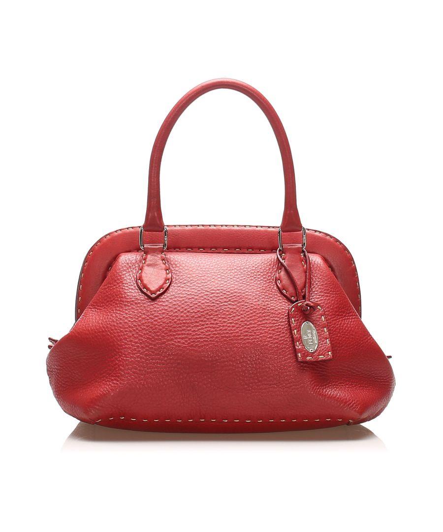 Image for Vintage Fendi Selleria Leather Handbag Red