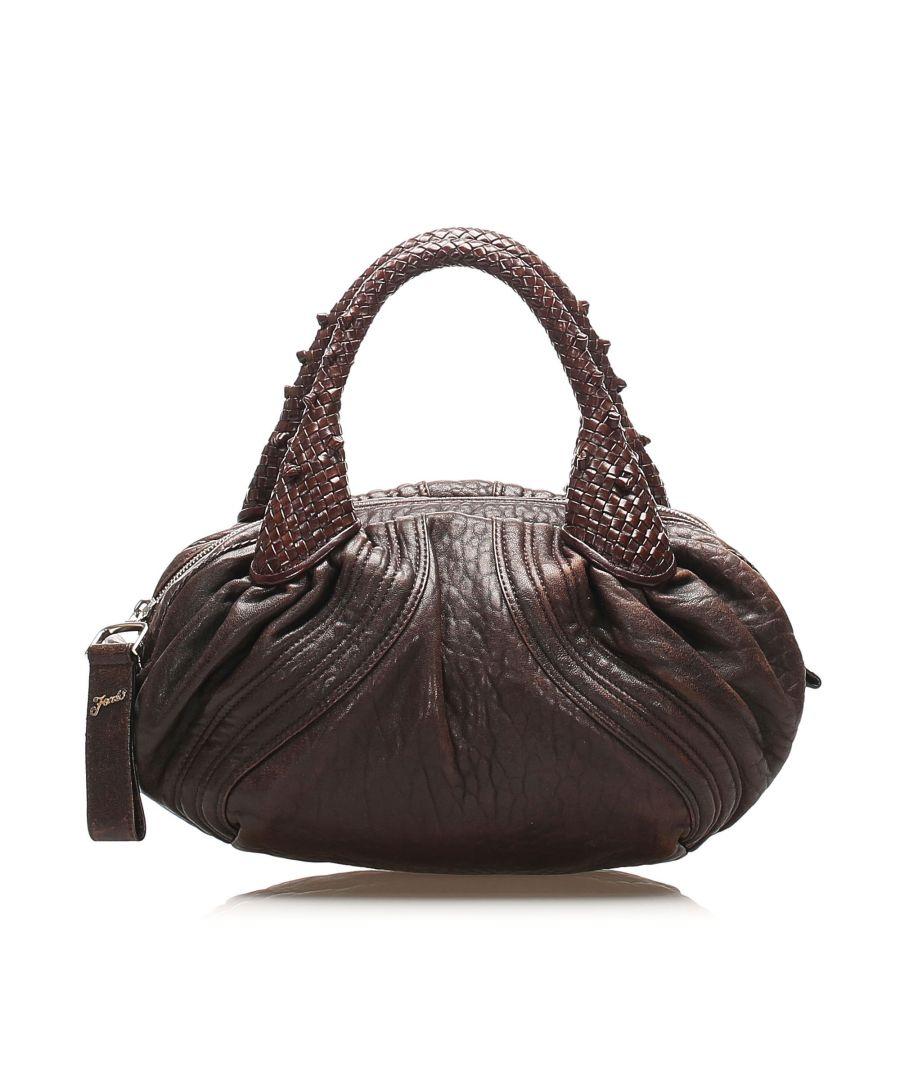 Image for Vintage Fendi Spy Leather Handbag Brown