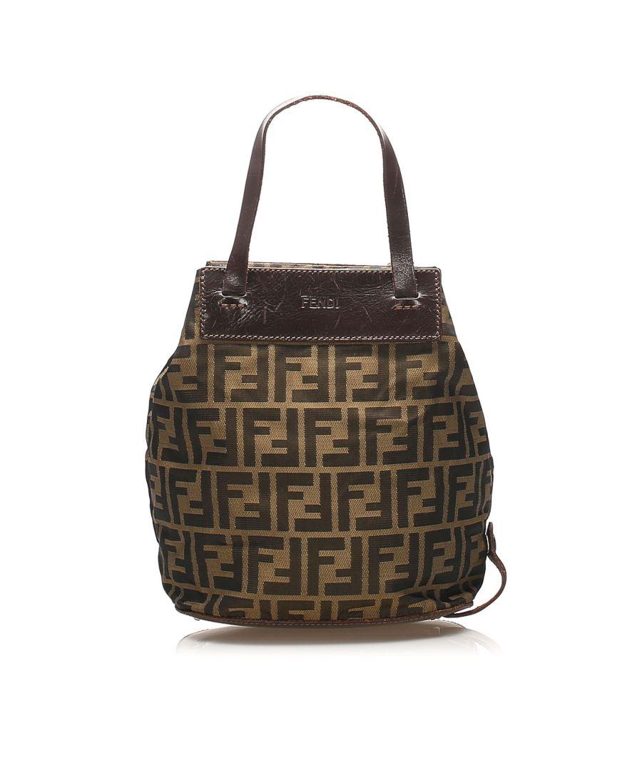Image for Vintage Fendi Zucca Canvas Handbag Black