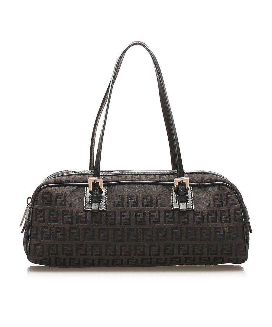 Image for Vintage Fendi Zucchino Canvas Handbag Brown