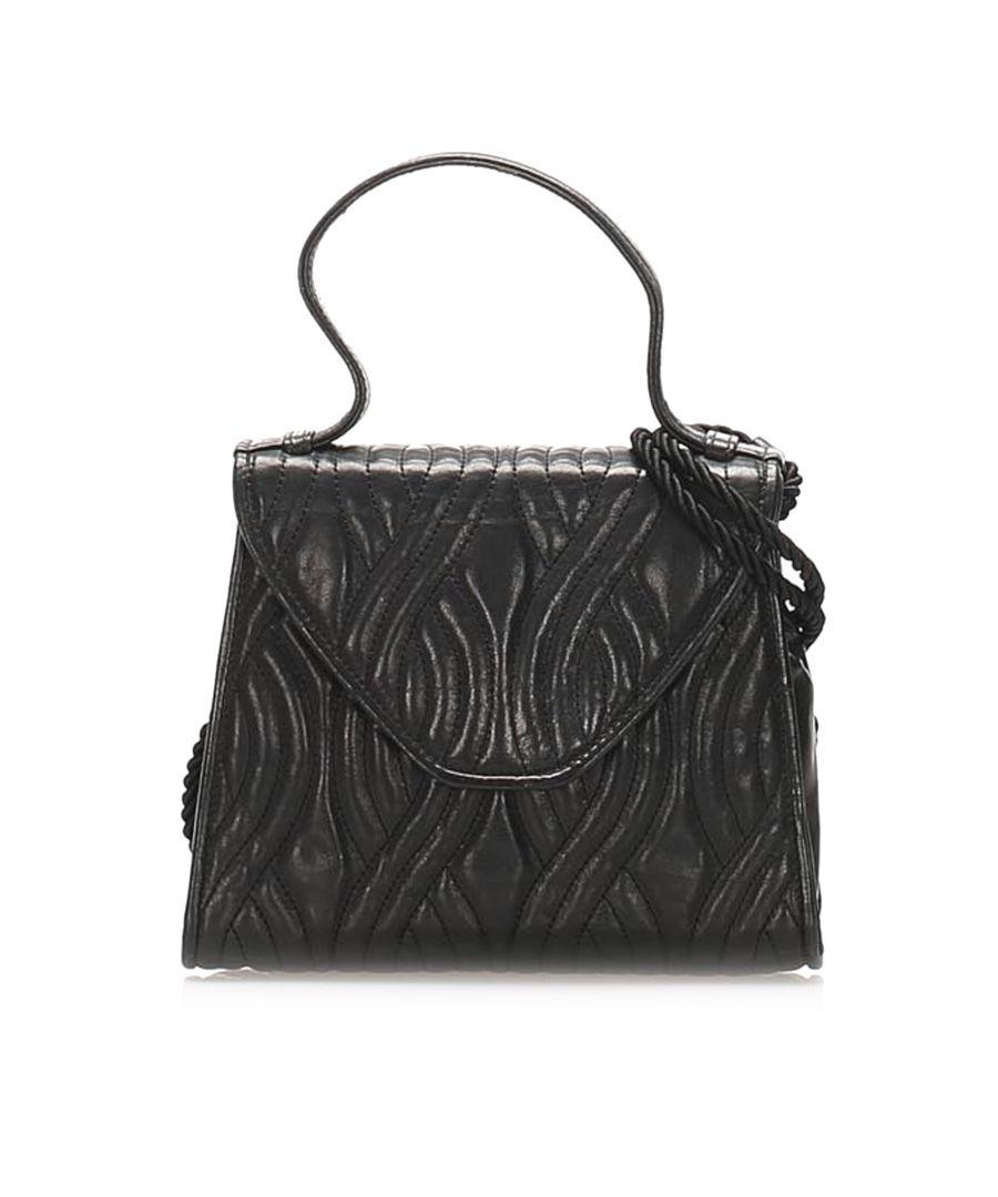 Image for Vintage Fendi Quilted Leather Satchel Black