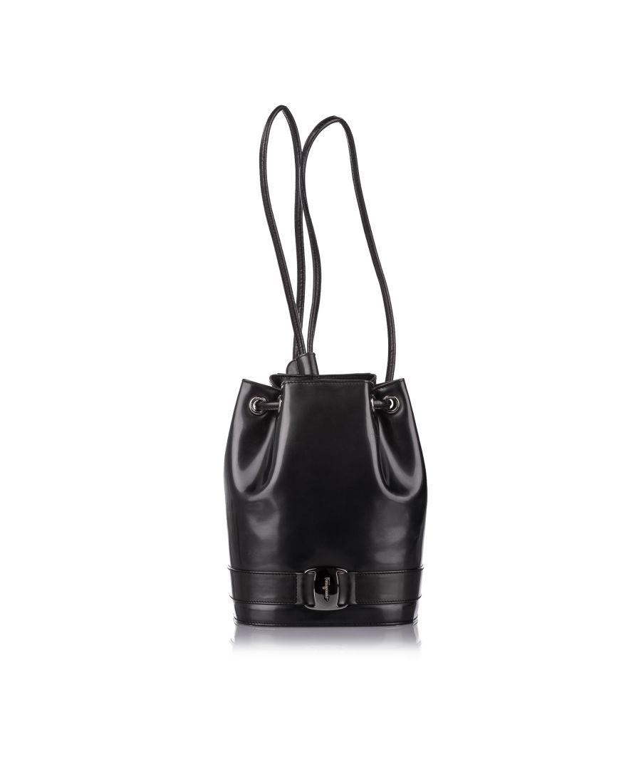 Image for Vintage Ferragamo Vara Drawstring Leather Backpack Black