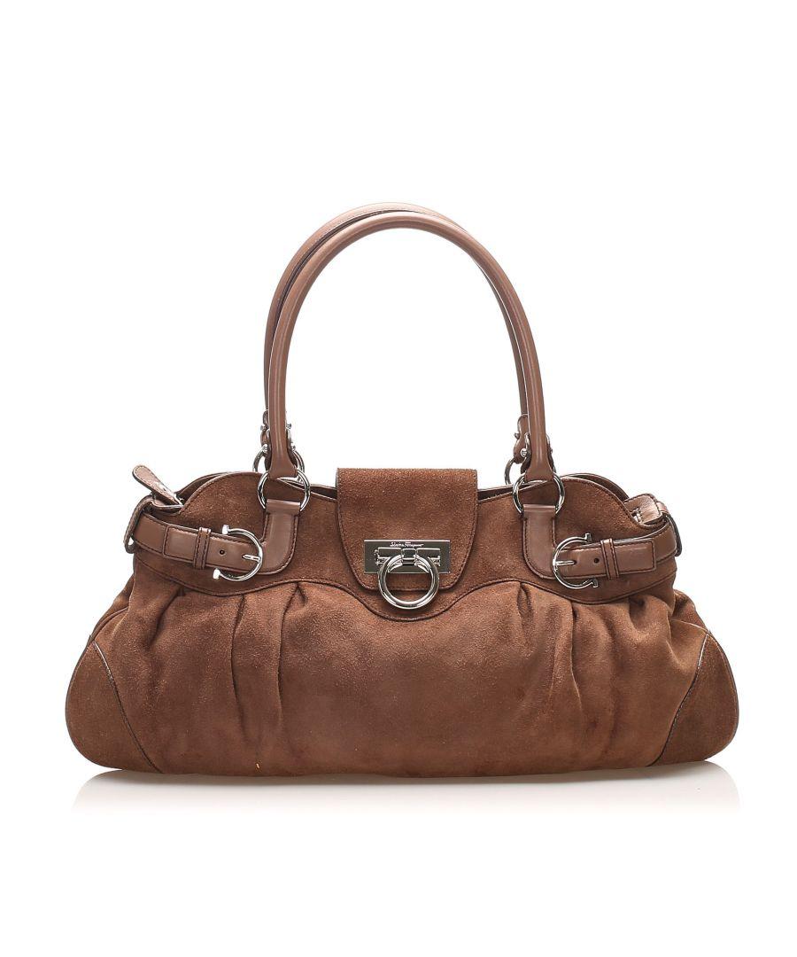 Image for Vintage Ferragamo Gancini Marisa Suede Shoulder Bag Brown