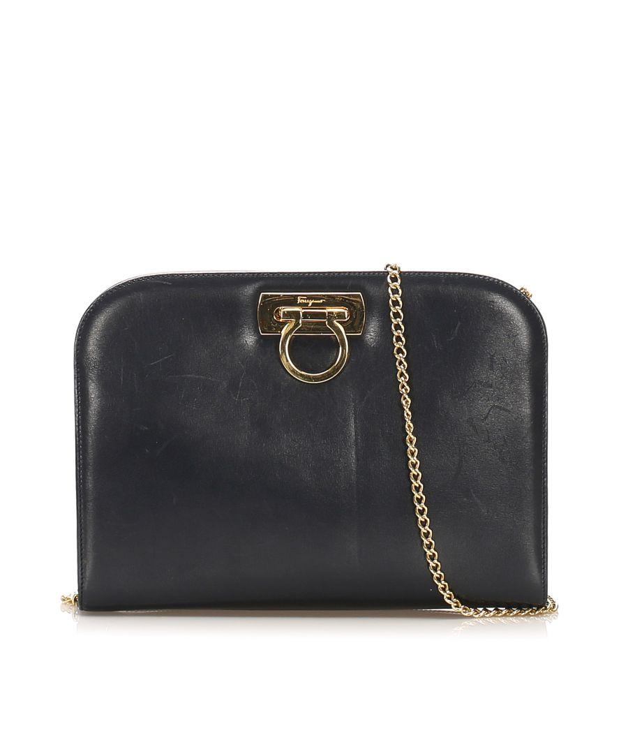 Image for Vintage Ferragamo Gancini Leather Crossbody Bag Black
