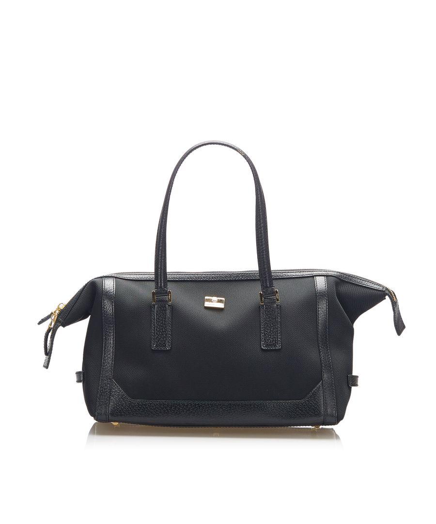 Image for Vintage Ferragamo Canvas Handbag Black