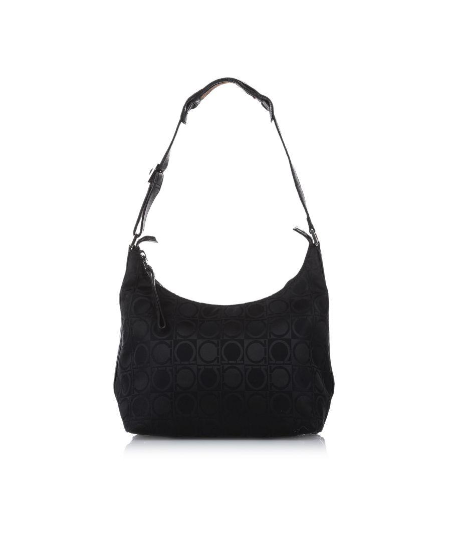 Image for Vintage Ferragamo Gancini Canvas Shoulder Bag Black